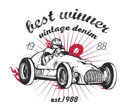 Vector illustration of vintage sport racing car Ilustração