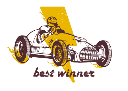 Vector illustration of vintage sport racing car Ilustração