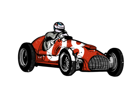 Vector illustration of vintage sport racing car Vettoriali