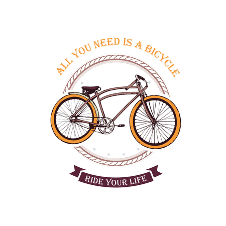 Vector illustration, hand graphics - Old bicycle emblem