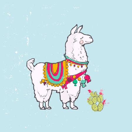Cute cartoon llama 向量圖像