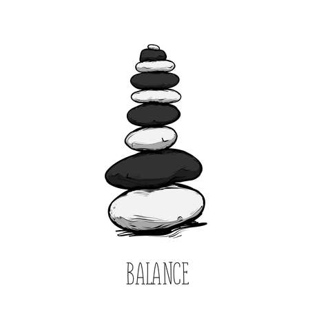 Zen stone balance with the text, peaceful concept
