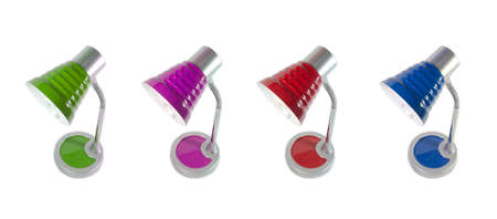 poise: Red, green, purple, blue desk lamp on white background