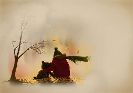 mirada triste: Lonely boy con un oso de peluche en la lluvia de oto�o