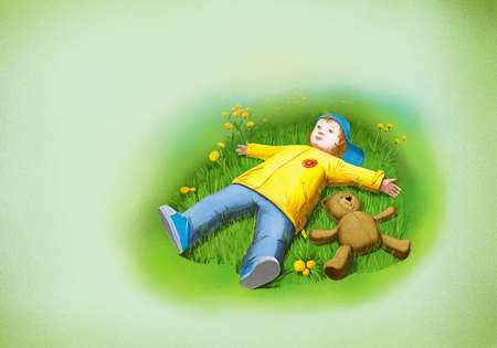 boy and teddy bear laying on grass photo