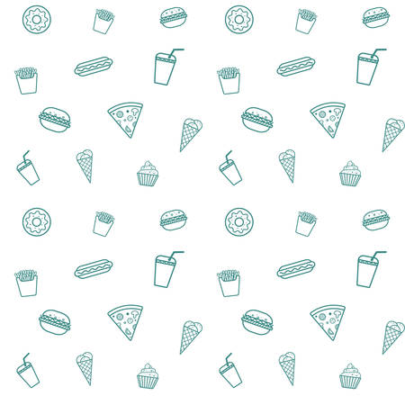 The fast food seamless pattern. Illustration