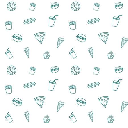 The fast food seamless pattern. 일러스트