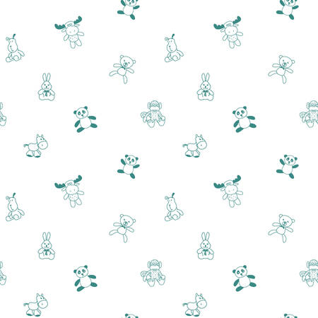 Seamless pattern with soft toys. Outline style.