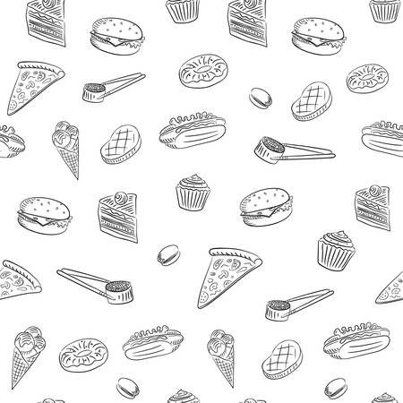 The hand drawing of food set. Sketch style, isolated. Seamless pattern Illustration