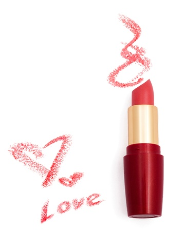 Smeared pink lipstick with hearts isolated on white Stock Photo - 16243973