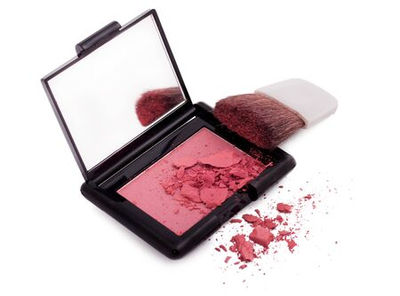 Pink blush with brush and mirror isolated on white Stock Photo - 16244025