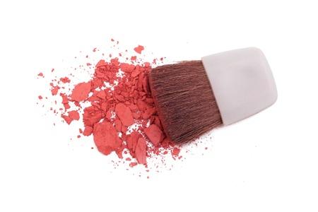 Pink blush and brush isolated on white Stock Photo - 16244016