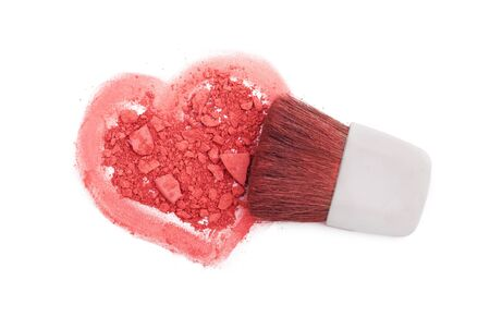 Pink blush with brush and heart isolated on white Stock Photo - 16290514