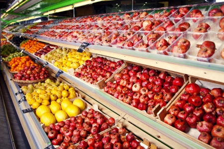 Counter with fruits in supermarket