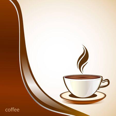 chicchi caff� su sfondo bianco: Caff� sfondo tazza di moda Vettoriali