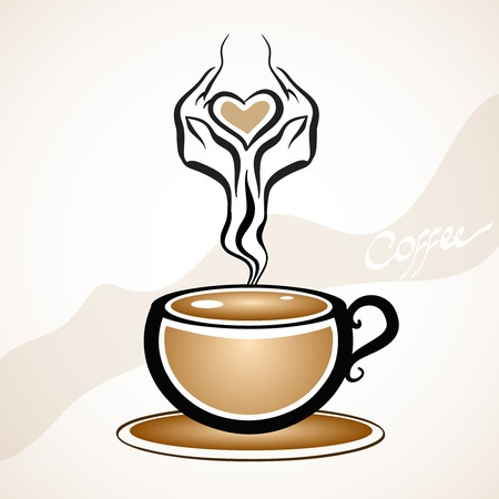 cappuccino: Coffee cup stylish shape Illustration