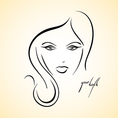 make up woman: Stylish drawn girl sketch Illustration
