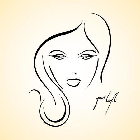 make up brush: Stylish drawn girl sketch Illustration