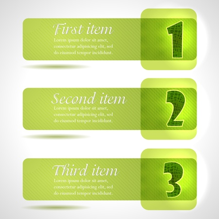 Abstract green stylish tags with numbers, Cool green theme Illustration