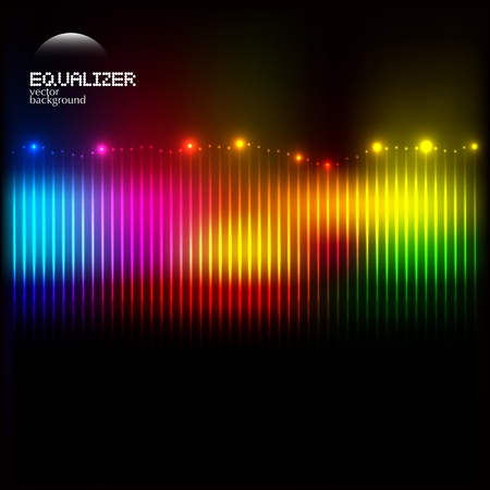 3d lightning: Abstract colorful equalizer on dark background with lights