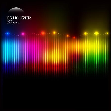musica electronica: Ecualizador de colorido abstracto sobre un fondo oscuro con luces