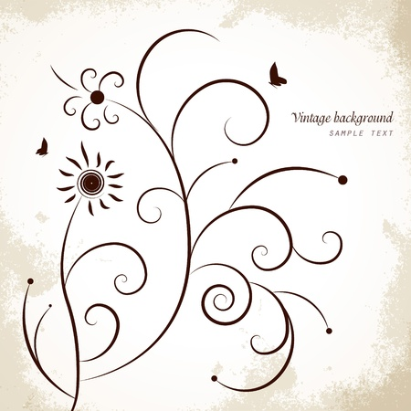 Vintage, grunge background with butterflys. Stock Vector - 13683737