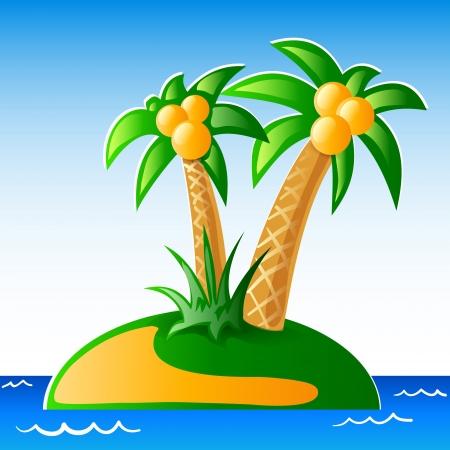 Palms, seaside and island.  Illustration