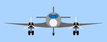 airliner: Illustration of grey passenger airliner, front view