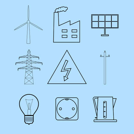 energetics: Set of line icons representing electricity and energetics concepts