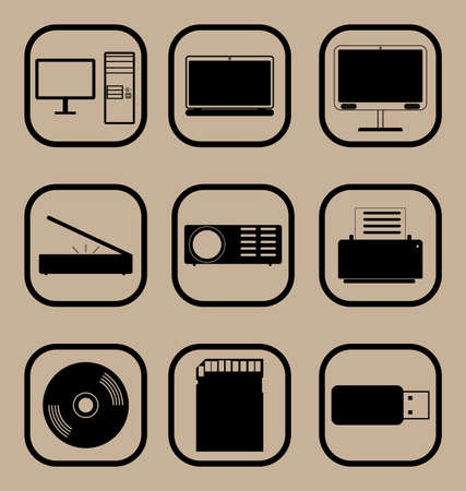 lcd monitor printer: Set of vector icons representing various computer equipment and devices