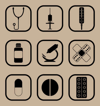 medications: Set of vector icons representing medical equipment and medications