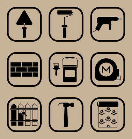 cintas metricas: Vector set of icons representing construction equipment and building concept