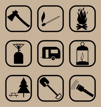 travel burner: Set of vector icons representing hiking and tourism concepts