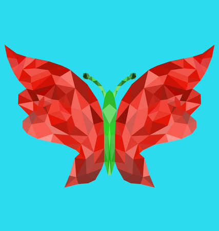 mesh: Polygon mesh image of single colorful butterfly Illustration