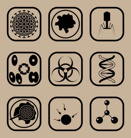 bacteriophage: Set of icons representing biology and science concepts