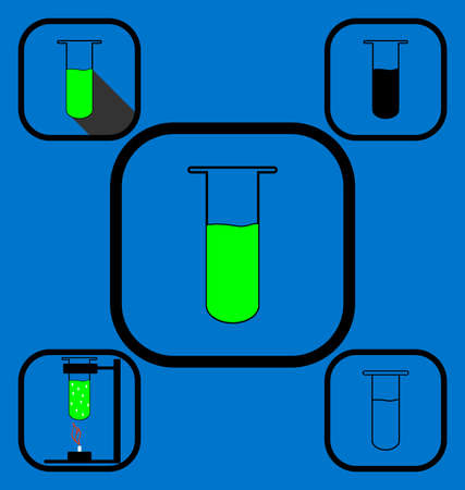 burners: Set of icons representing chemical test tube in various icon styles Illustration