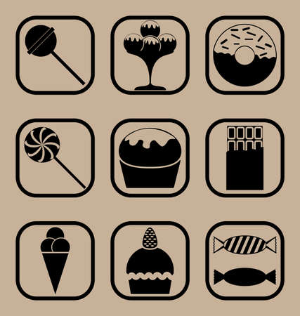 coop: Set of icons representing sweets and candies concepts