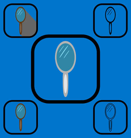 look in mirror: Set of icons of mirror made in various icon styles
