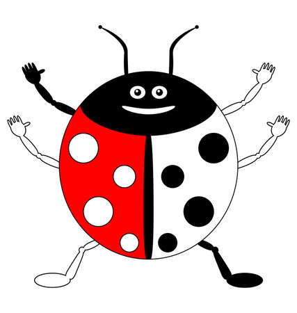 ladybird: Color by example, insects - cute smiling ladybird