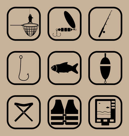 lifejacket: Set of vector icons representing fishing concept