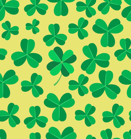 irish culture: Seamless pattern made of green clover images in light yellow background