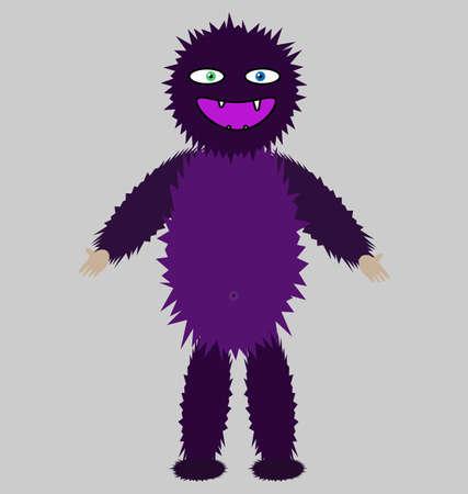 Vector image of smiling purple spooky monster Illustration