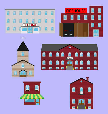Multicolored vector image of colorful buildings