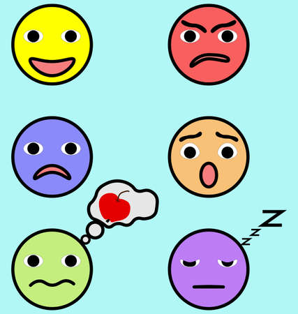 Emotion faces set image in flat illustration