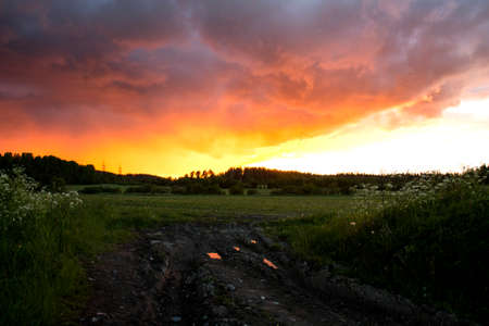 unsurfaced road: Shot of a worndown dirt road through the field in the evening, sun is setting on the background.