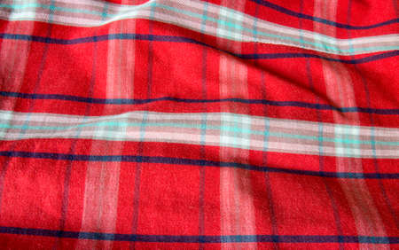 checked fabric: Closeup shot of red checked fabric with waves and folds.