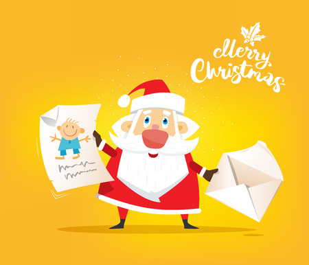 Santa Claus receive a letter of wish about toy. Vector, illustration, flat