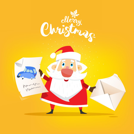 Santa Claus receive a letter of wish about car. Vector, illustration, flat  Иллюстрация
