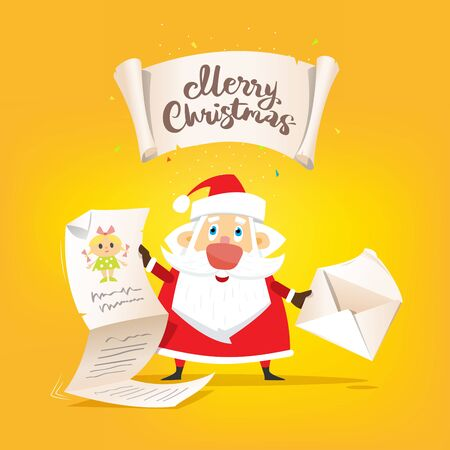 Santa Claus hold a long letter of wishes and envelope in hands. Vector, illustration, flat