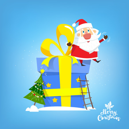 Santa Claus sit on the big new year gift. Vector, illustration, flat.